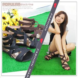 【日系女鞋】羅馬編織交叉後跟拉鏈厚底涼鞋.拖鞋