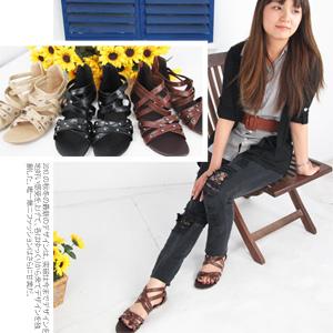 皮革羅馬交叉楔型涼鞋.拖鞋