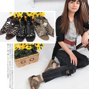 羅馬魚骨編織平底涼鞋.拖鞋